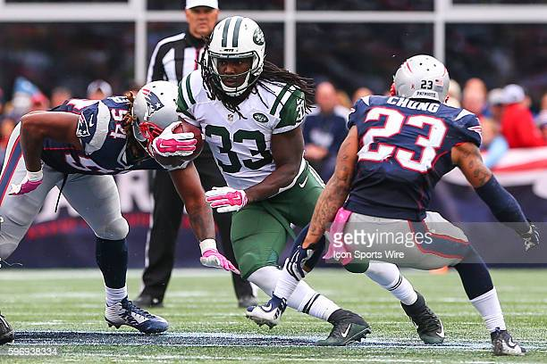 New York Jets running back Chris Ivory during the third quarter of the game between the New York Jets and the New England Patriots played at Gillette...