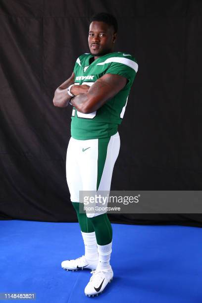 New York Jets running back Elijah McGuire poses for photos during New York Jets media day on June 3 2019 at the Atlantic Health Jets Training...