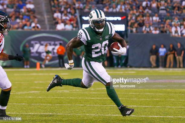 New York Jets running back Isaiah Crowell scores a touchdown during the first quarter of the preseason National Football League game between the New...