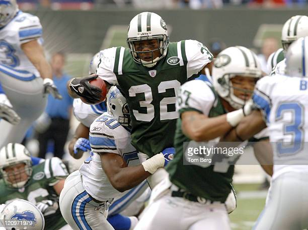 New York Jets running back Kevan Barlow trying to find some running room against Lions defense during the Detroit Lions vs New York Jets game on...