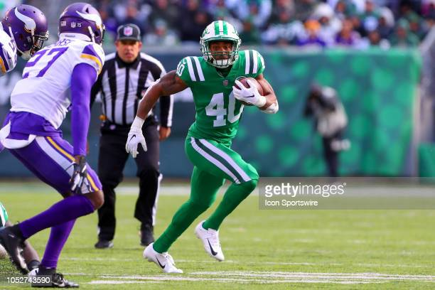 New York Jets running back Trenton Cannon runs during the National Football League Game between the New York Jets and the Minnesota Vikings on...