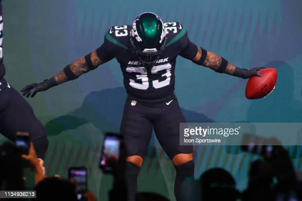 New York Jets Safety Jamal Adams models the New York Jets Stealth Black Uniform at the New York Jets New Uniform Unveiling on April 4 2019 at Gotham...