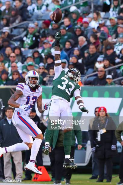 New York Jets strong safety Jamal Adams deflects the ball during the National Football League game between the New York Jets and the Buffalo Bills on...