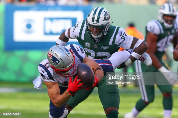 New York Jets strong safety Jamal Adams tackles New England Patriots wide receiver Julian Edelman during the National Football League game between...