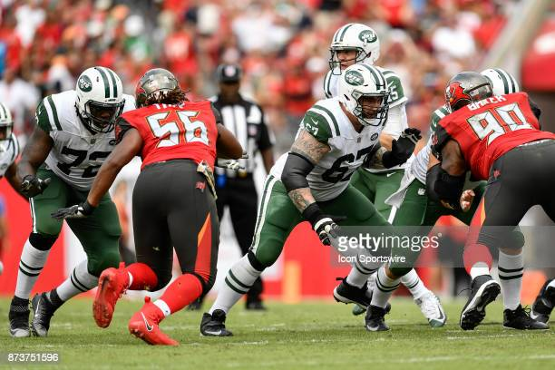New York Jets tackle Brandon Shell and New York Jets guard Brian Winters in pass protection during the second half of an NFL game between the New...