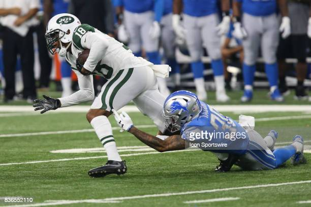 27337bccaaf New York Jets wide receiver ArDarius Stewart is tackled by Detroit Lions  corner back Teez Tabor