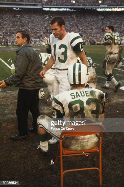 New York Jets' wide receiver Don Maynard paces on the sidelines in front of teammate George Sauer during Super Bowl III against the Baltimore Colts...