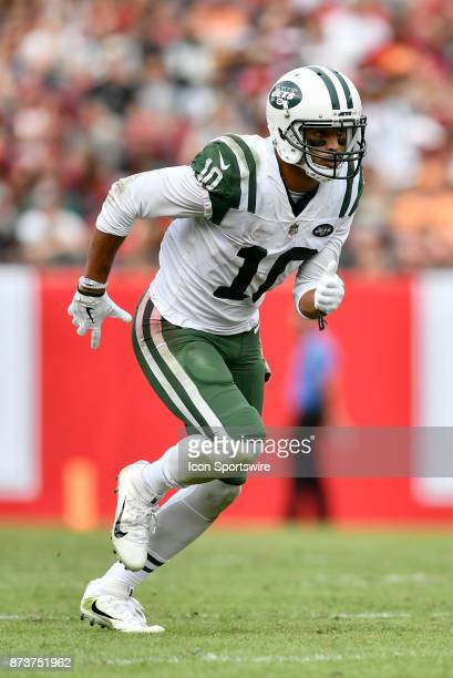 New York Jets wide receiver Jermaine Kearse runs his route during the second half of an NFL game between the New York Jets and the Tampa Bay...