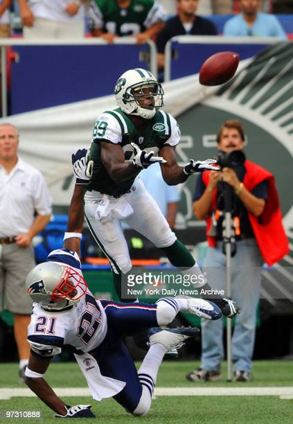 New York Jets wide receiver Jerricho Cotchery catches a pass that was called pass interference in what was a controversial call when the New York...
