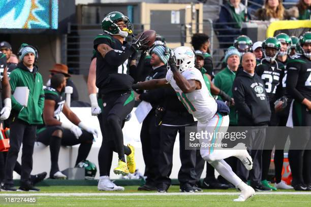 New York Jets wide receiver Robby Anderson makes a catch and run during the National Football League game between the New York Jets and the Miami...