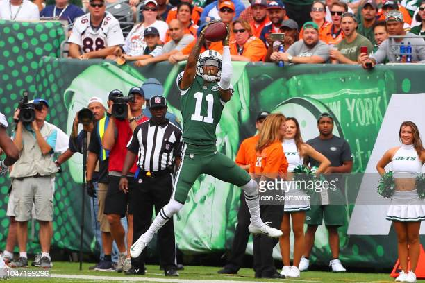 New York Jets wide receiver Robby Anderson makes a catch during the first quarter of the National Football League game between the New York Jets and...