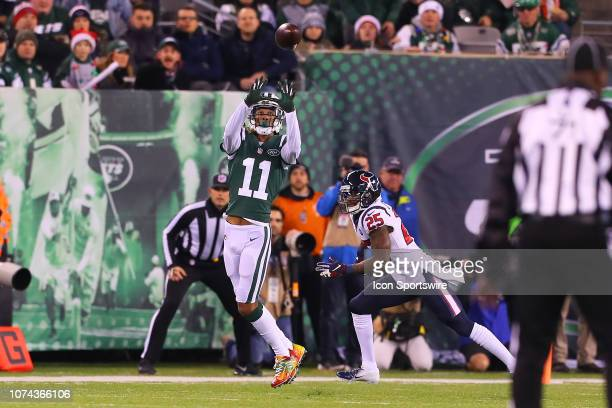 New York Jets wide receiver Robby Anderson makes a catch during the National Football League game between the New York Jets and the Houston Texans on...