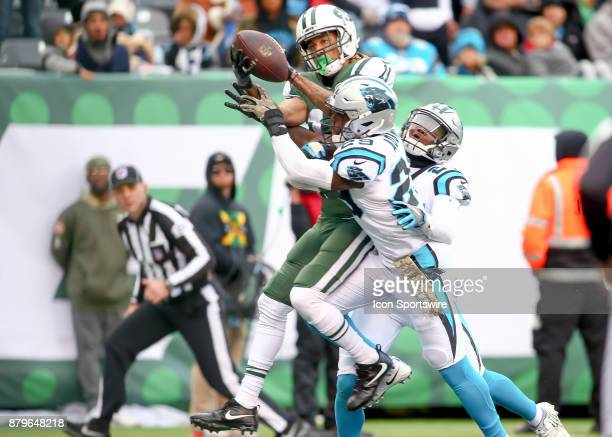 New York Jets wide receiver Robby Anderson makes a touchdown catch during the first half of the National Football League game between the Carolina...