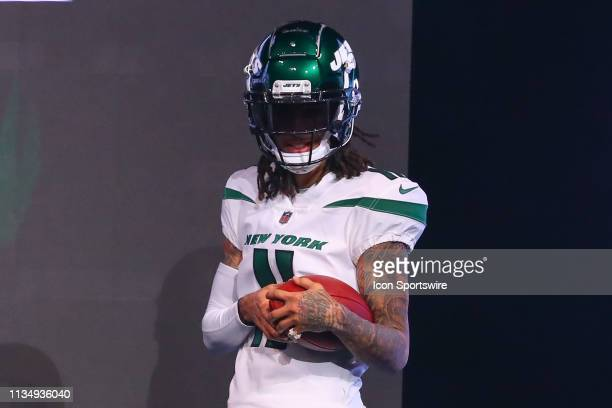New York Jets Wide Receiver Robby Anderson models the New York Jets Spotlight White Uniform at the New York Jets New Uniform Unveiling on April 4,...