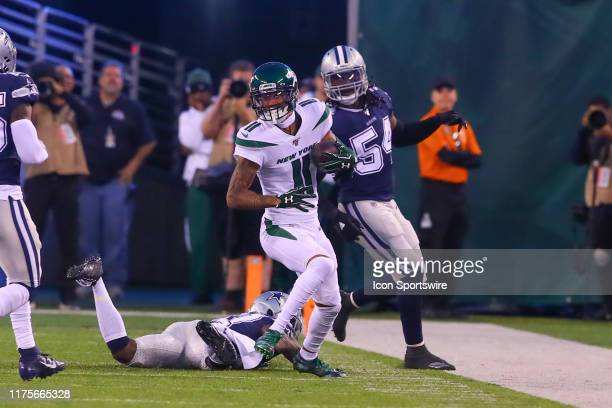 New York Jets wide receiver Robby Anderson runs during the National Football League game between the New York Jets and the Dallas Cowboys on October...