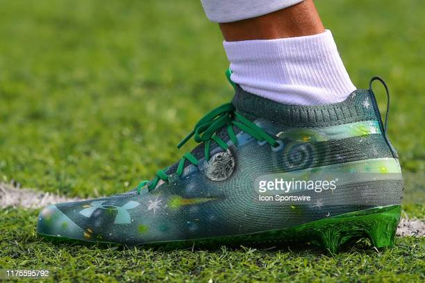 New York Jets wide receiver Robby Anderson Under Armour cleats on the field prior to the National Football League game between the New York Jets and...