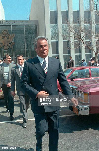 John Gotti reputed godfather of the Gambino crime family after Big Paul Castellano's murder is pictured at Brooklyn Federal Court where he went on...