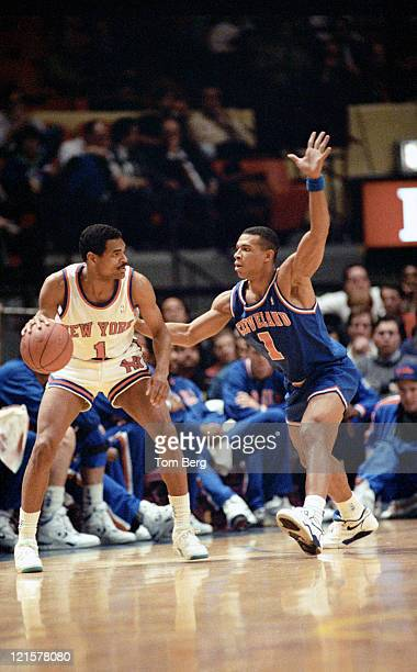 New York Knickerbockers guard Maurice Cheeks playing against Cleveland Cavaliers Terrell Brandon during the Cleveland Cavaliers vs New York...