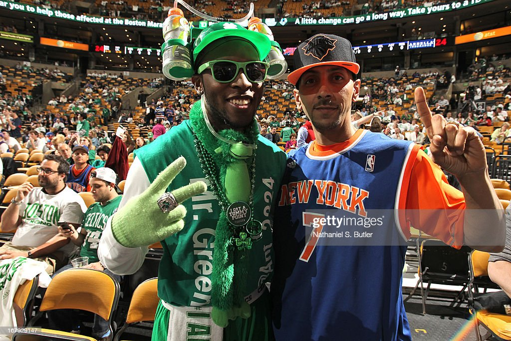 New York Knicks and Boston Celtics fans get ready for Game Three of the Eastern Conference Quarterfinals during the 2013 NBA Playoffs on April 26, 2013 at the TD Garden in Boston.