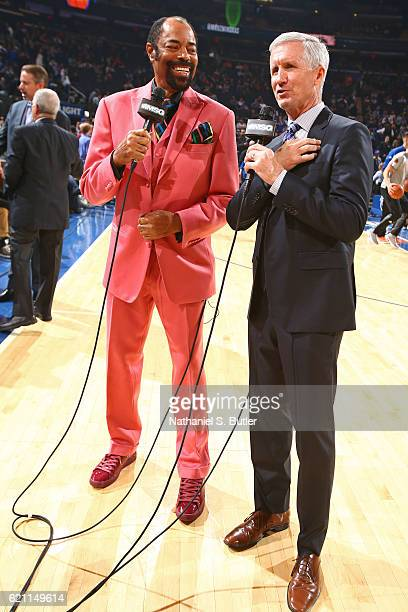 New York Knicks announcer, Walt Frazier and Mike Breen talk on court before the Memphis Grizzlies game against the New York Knicks on October 29,...