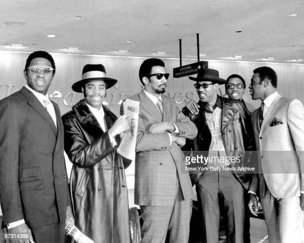 New York Knicks arrive from Cincinnati at LaGuardia Airport Left to Right are Capt Willis ReedWalt Frazier Nate Bowman Cazzie Russell and Dick...