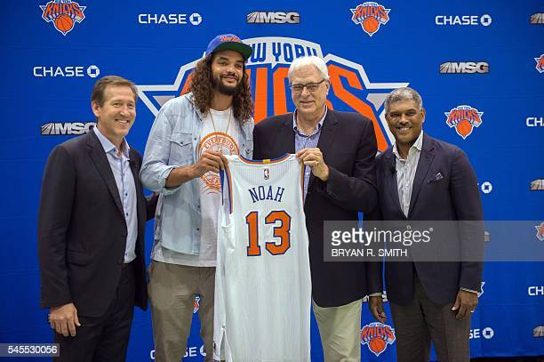 New York Knicks coach Jeff Hornacek Knicks newest player Joakim Noah Knicks President Phil Jackson and General Manager Steven Mills pose at Madison...