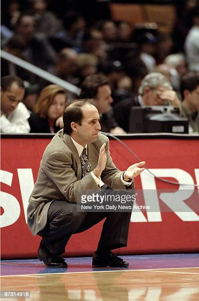 New York Knicks' coach Jeff Van Gundy during game against the New Jersey Nets at the Continental Air Arena