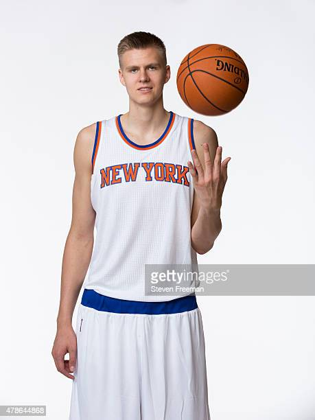 New York Knicks draft pick Kristaps Porzingis poses for a portrait at the Madison Square Garden Training Facility on June 26 2015 in Tarrytown New...