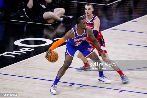 New York Knicks Forward Noah Vonleh and Washington Wizards Guard-Forward Tomas Satoransky during the NBA game against Washington Wizards and New York...