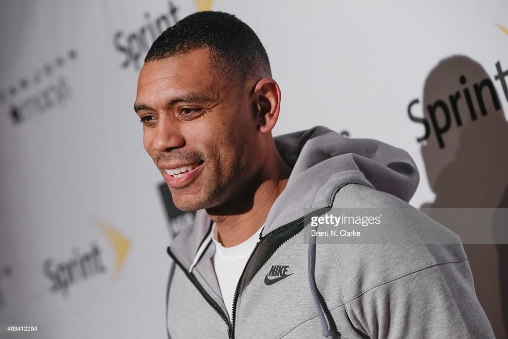 New York Knicks General Manager Allan Houston arrives for the NBA All-Star Celebrity Basketball Game 2015 at Madison Square Garden on February 13, 2015 in New York City.