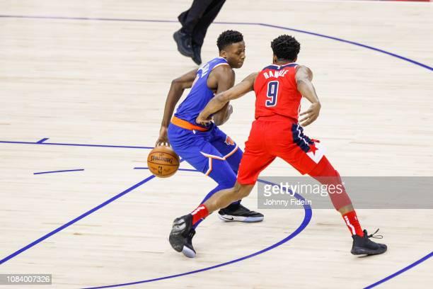 New York Knicks Guard Frank Ntilikina attacks Washington Wizards Guard Chasson Randle during the NBA game against Washington Wizards and New York...