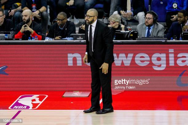 New York Knicks head coach David Fizdale during the NBA game against Washington Wizards and New York Knicks at The O2 Arena on January 17 2019 in...