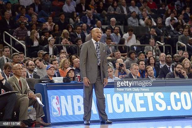 New York Knicks head coach Derek Fisher lets out a yell at New York Knicks vs Chicago Bulls Opening Night at Madison Square Garden