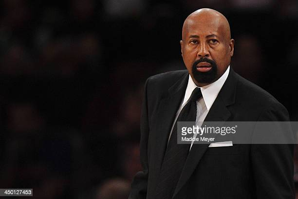 New York Knicks head coach Mike Woodson looks on during the first half against the Atlanta Hawks at Madison Square Garden on November 16 2013 in New...