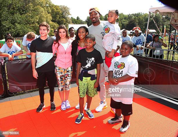 New York Knicks JR Smith poses with actors Jack Griffo Kira Kosarin Sydney Park and Tylen Jacob Williams during Nickelodeon's 11th Annual Worldwide...