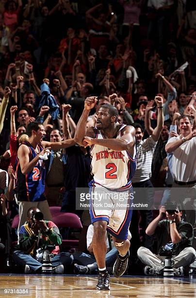 New York Knicks' Larry Johnson makes his trademark L as crowd roars after the Knicks won Game 4 of the NBA Eastern Conference finals against the...