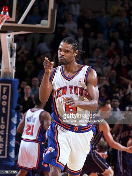 New York Knicks' Latrell Sprewell gets pumped up after hitting a shot toward the end of the fourth quarter against the New Jersey Nets The Knicks...