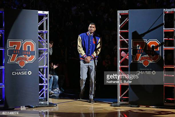 New York Knicks legend Allan Houston is honored before the game against the Memphis Grizzlies on October 29 2016 at Madison Square Garden in New York...