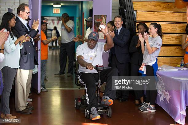 New York Knicks Legend Cal Ramsey participates at NBA Cares Employee Day of Service in partnership with the Garden of Dreams Childrens Aid Society on...