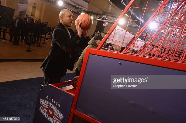 """New York Knicks Legend John Starks participates as Delta Air Lines hosts the """"Free Throw To Heathrow"""" event celebrating the New York Knicks return to..."""