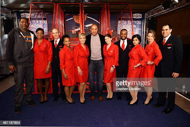 """New York Knicks Legends Larry Johnson and John Starks participate as Delta Air Lines hosts the """"Free Throw To Heathrow"""" event celebrating the New..."""