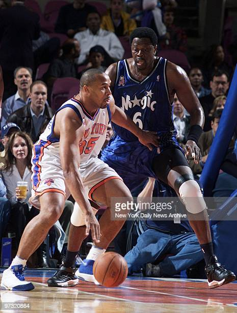 New York Knicks' Othella Harrington is guarded by Orlando Magic's Patrick Ewing during action at Madison Square Garden The Magic beat the Knicks...