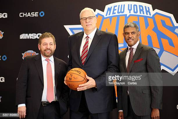 New York Knicks owner James Dolan and Steve Mills General Manager at the Phil Jackson press Conference introducing Jackson as the new president of...