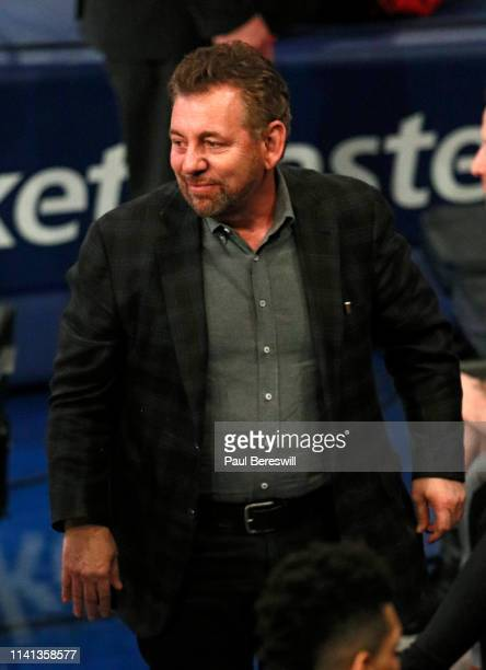 New York Knicks owner James Dolan smiles at an NBA basketball game against the Toronto Raptors on March 28 2019 at Madison Square Garden Center in...