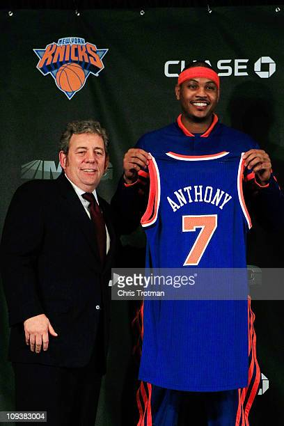 New York Knicks owner Jim Dolan introduces new player Carmelo Anthony at a press conference at Madison Square Garden on February 23 2011 in New York...