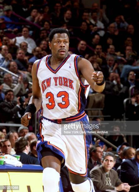 New York Knicks' Patrick Ewing is pumped up after scoring against the Portland Trail Blazers at Madison Square Garden The Knicks beat the Trail...