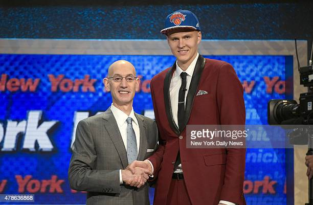 New York Knicks pick Kristaps Porzingis. 2015 NBA Draft at Barclays Center, Brooklyn, NY.