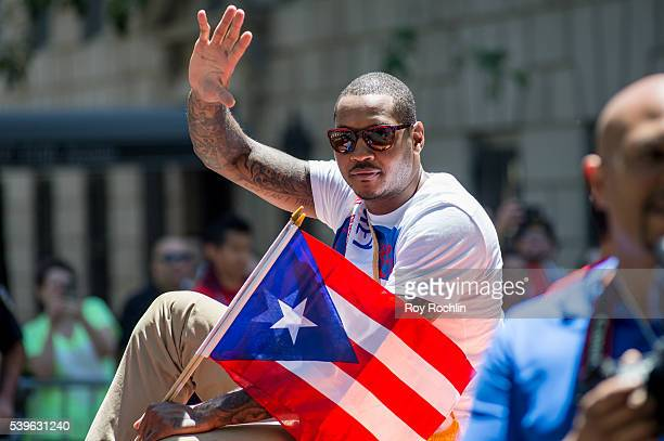 New York Knicks player Carmelo Anthony attends the Puerto Rican Day Parade on June 12 2016 in New York City