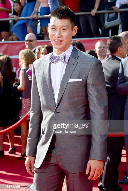 New York Knicks player Jeremy Lin arrives at the 2012 ESPY Awards at Nokia Theatre LA Live on July 11 2012 in Los Angeles California