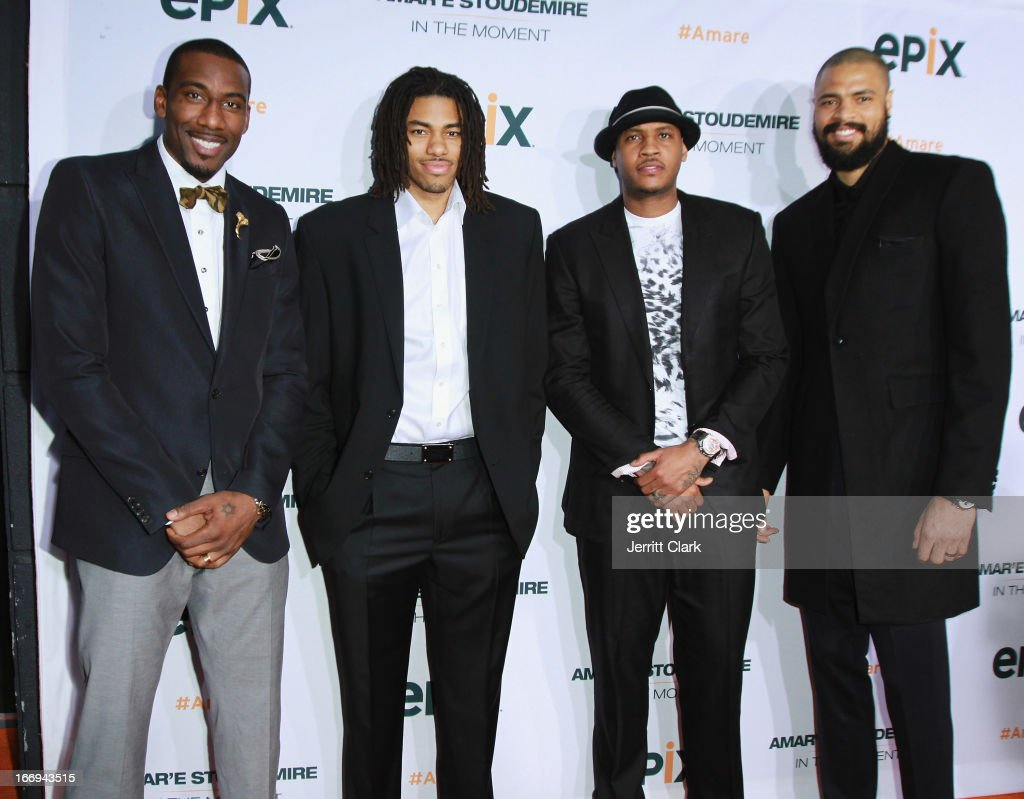 New York Knicks players Amar'e Stoudemire, Chris Copeland, Carmelo Anthony and Tyson Chandler attend the 'Amar'e Stoudemire: In The Moment' New York Premiere at Marquee on April 18, 2013 in New York City.